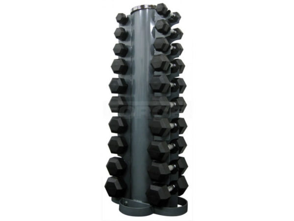 Rubber Hex Dumbbells with Vertical Rack