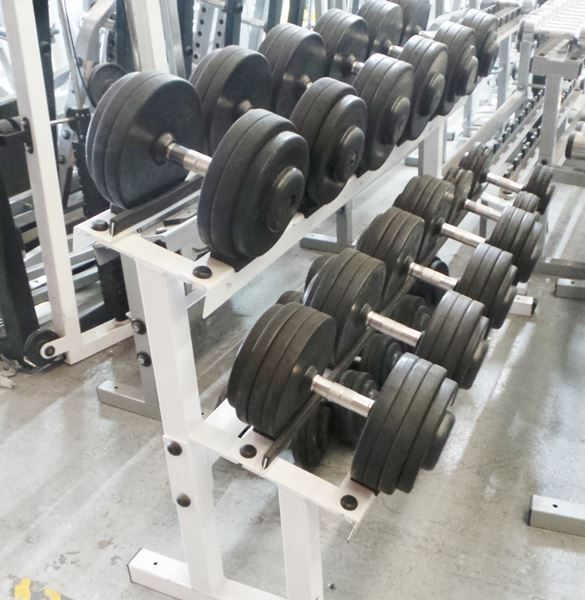 Australian Barbell Round Rubber Dumbbells with Rack