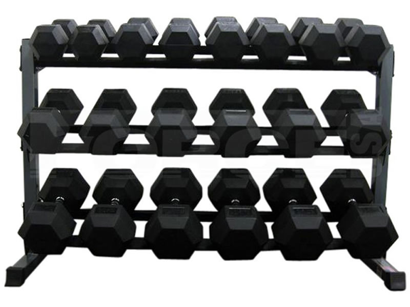 3 Tier Rubber Hex Dumbbell Rack