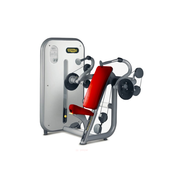 Technogym element line arm extension red upholstery silver frame