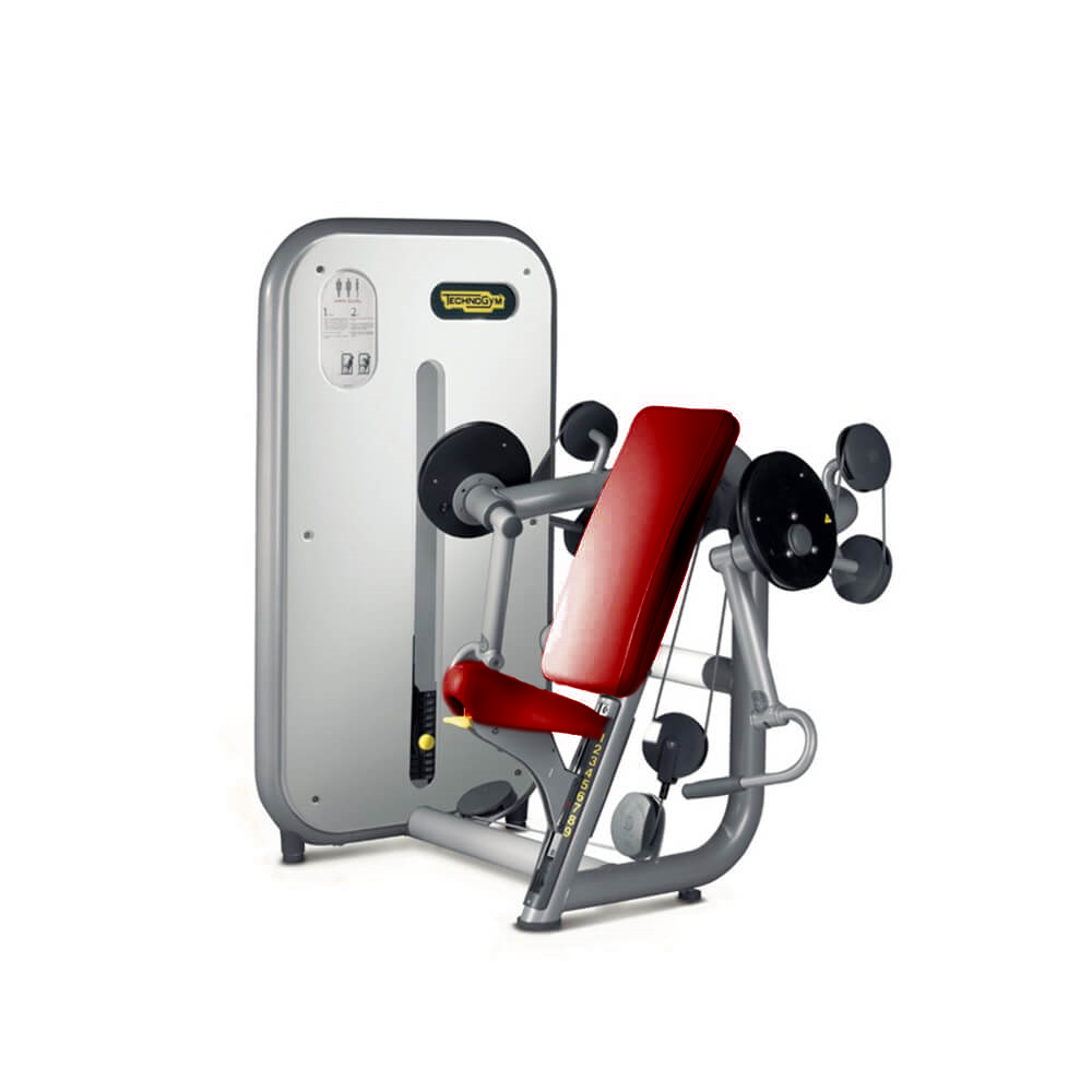 technogym-element-line-arm-curl red upholstery silver frame