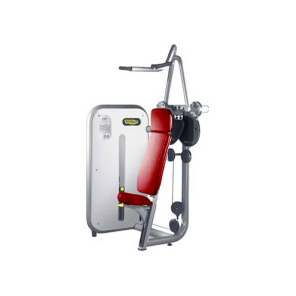 technogym element line vertical traction red upholstery silver frame