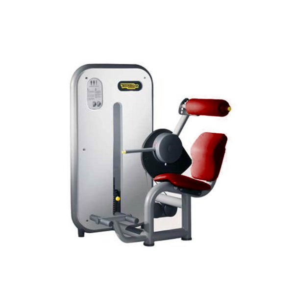 technogym element line lower back red upholstery silver frame
